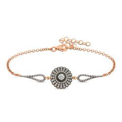 Gumush - Gümüş Elmas Montür Çiçek Bayan Bileklik