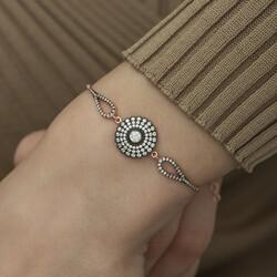 Gümüş Elmas Montür Çiçek Bayan Bileklik - Thumbnail