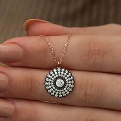 Gümüş Elmas Montür Çiçek Bayan Kolye - Thumbnail