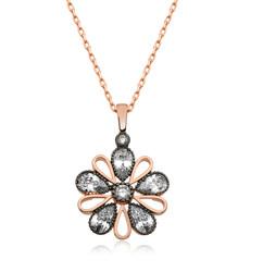 Gumush - Gümüş Elmas Montür Çiçek Bayan Kolye