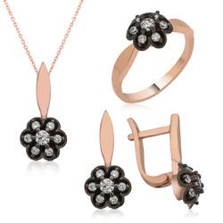 Gumush - Gümüş Elmas Montür Çiçek Bayan Set