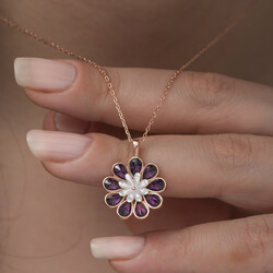 Gümüş Erguvan Çiçeği Kolye - Thumbnail