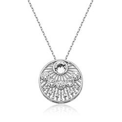 Gumush - Gümüş Etnik Desenli Bayan Kolye