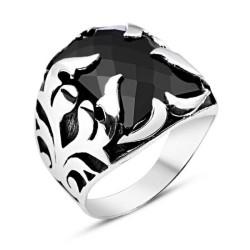 Gumush - Gümüş Siyah Taşlı Alev Erkek Yüzük