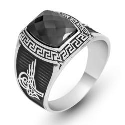 Gumush - Gümüş Siyah Taşlı Tuğralı Erkek Yüzük