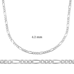 Gumush - 4.2 mm Gümüş Figaro Zincir - 120 mikron