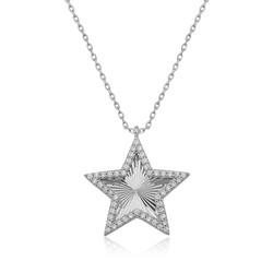 Gumush - Gümüş Fırfır Desenli Yıldız Bayan Kolye