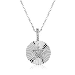 Gumush - Gümüş Fırfırlı Yıldız Bayan Kolye