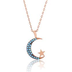 Gumush - Gümüş Mavi Ay Yıldız Bayan Kolye