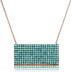 Gumush - Gümüş Mavi Taşlı Dikdörtgen Bayan Kolye