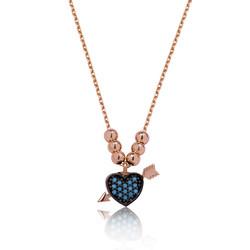 Gumush - Gümüş Mavi Kalpli Bayan Kolye