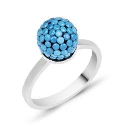 Gumush - Gümüş Mavi Taşlı Top Bayan Yüzük