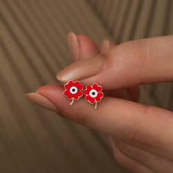 Gümüş Fosforlu Kırmızı Yonca Küpe - Thumbnail