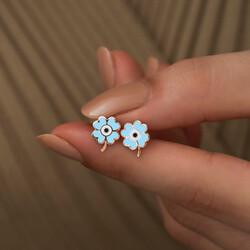 Gümüş Fosforlu Mavi Yonca Küpe - Thumbnail