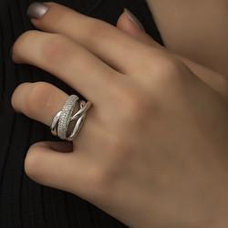 Gumush - Gümüş Geçişli Model Bayan Yüzük (1)