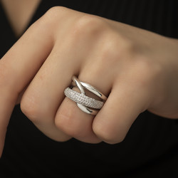 Gümüş Geçişli Model Bayan Yüzük - Thumbnail