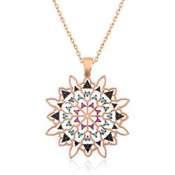 Gumush - Gümüş Geometrik Desenli Madalyon Kolye