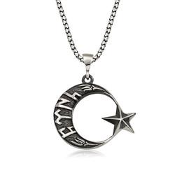 Gumush - Gümüş Göktürkçe Türk Yazılı Ay Yıldız Erkek Kolye