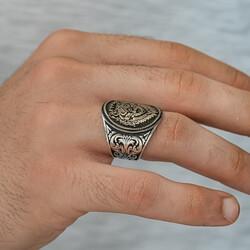 Gümüş Göktürkçe Türk Yazılı Kurt Kafası Erkek Yüzük - Thumbnail