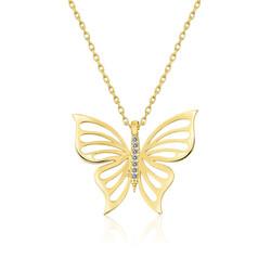 Gumush - Gümüş Gold Bahar Kelebeği Bayan Kolye