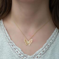 Gumush - Gümüş Gold Bahar Kelebeği Bayan Kolye (1)