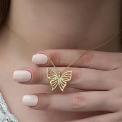 Gümüş Gold Bahar Kelebeği Bayan Kolye - Thumbnail
