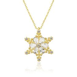 Gumush - Gümüş Gold Çiçek Desenli Kar Tanesi Bayan Kolye