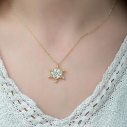 Gumush - Gümüş Gold Çiçek Desenli Kar Tanesi Bayan Kolye (1)