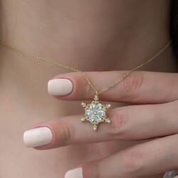 Gümüş Gold Çiçek Desenli Kar Tanesi Bayan Kolye - Thumbnail