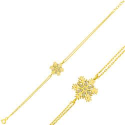 Gumush - Gümüş Gold Kar Tanesi Bayan Bileklik