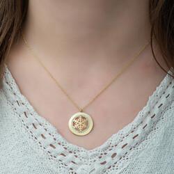 Gümüş Gold Kar Tanesi Bayan Kolye - Thumbnail