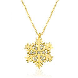 Gumush - Gümüş Gold Kar Tanesi Bayan Kolye