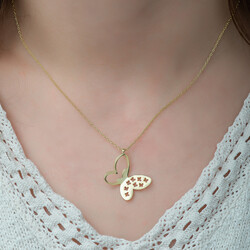 Gumush - Gümüş Gold Kelebek Bayan Kolye (1)