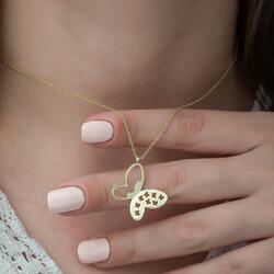 Gümüş Gold Kelebek Bayan Kolye - Thumbnail