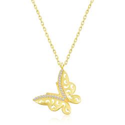 Gumush - Gümüş Gold Kelebek Bayan Kolye