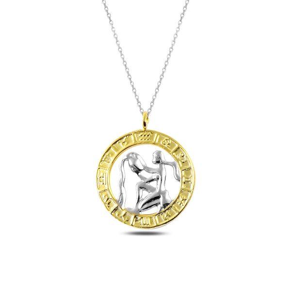Gümüş Gold Kova Burcu Kolye