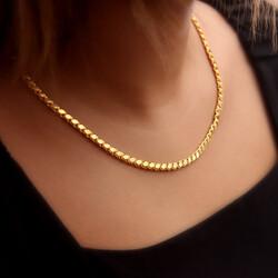 Gümüş Gold Pullu Arpa Zincir - Thumbnail