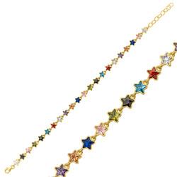 Gumush - Gümüş Gold Renkli Yıldız Bayan Bileklik