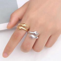 Gumush - Gümüş Gold Sarılan Eller Yüzük (1)