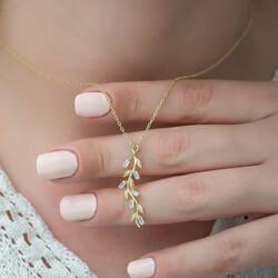 Gümüş Gold Sarmaşık Bayan Kolye - Thumbnail