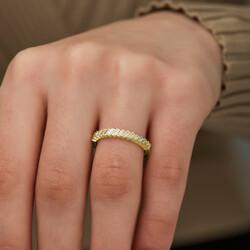 Gümüş Gold Sıralı Baget Taşlı Bayan Yüzük - Thumbnail