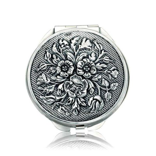 Gümüş Gül Motifli Kapaklı Ayna