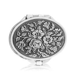 Gumush - Gümüş Gül Motifli Kapaklı Oval Ayna