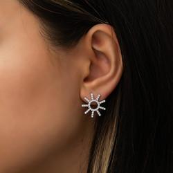 Gümüş Güneş Bayan Küpe - Thumbnail