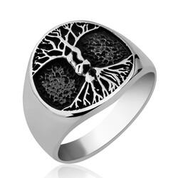Gumush - Gümüş Hayat Ağacı Erkek Yüzük