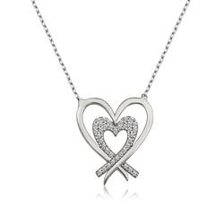 Gumush - Gümüş İki Kalp Bayan Kolye