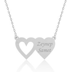 Gumush - Gümüş İki Kalp İsimli Bayan Kolye