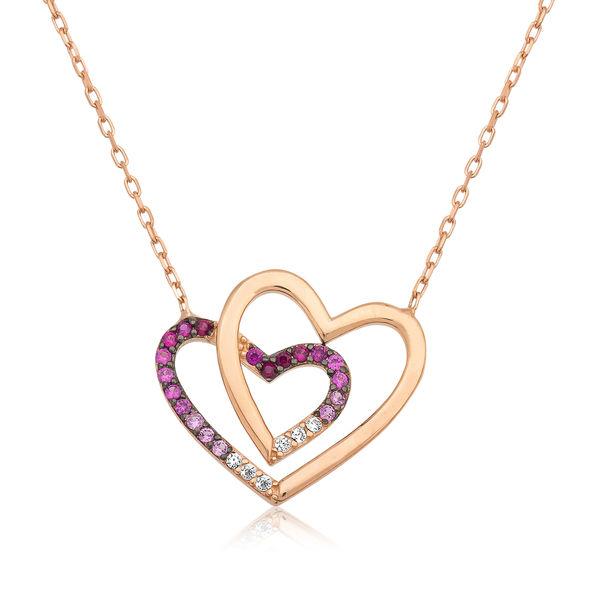 Gümüş İki Kalp Bayan Kolye