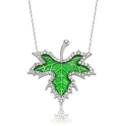 Gumush - Gümüş İlkbahar Çınar Yaprağı Bayan Kolye