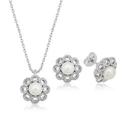 Gumush - Gümüş İncili Çiçek Bayan Set